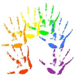 Hand print rainbow colors skin texture pattern vector image