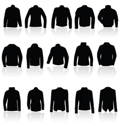 jacket for man and women in black silhouette vector image