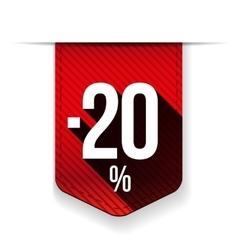 Sale twenty percent off banner red ribon vector image vector image