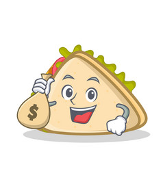 with money bag sandwich character cartoon style vector image vector image