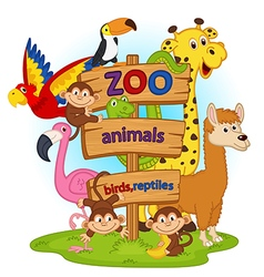 zoo animals near wooden sign vector image vector image