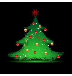 christmas tree on black background vector image vector image