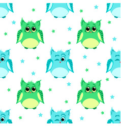 cute green and blue colored owls vector image vector image
