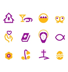 Easter and christianity icons vector image
