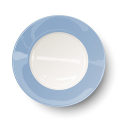 Empty light blue plate with reflections isolated o vector image vector image