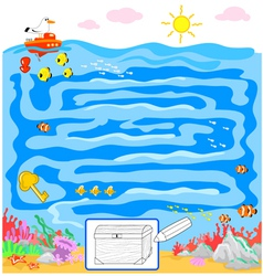 Kids sea maze game vector image