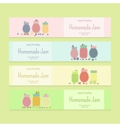 Set of flyer templates with fruit jam vector image vector image