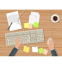 Workplace with keyboard vector image