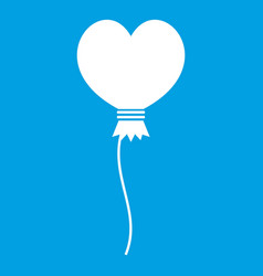 balloon in the shape of heart icon white vector image