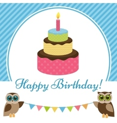 Birthday card with cake and owls vector image vector image