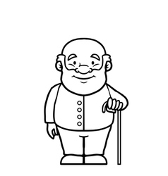 Black and white old man holding a cane vector image vector image