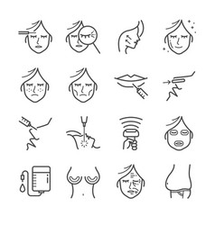 cosmetic surgery line icon set vector image