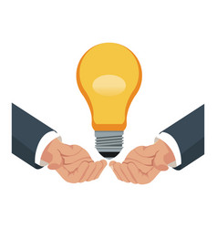 hand with bulb idea business work vector image