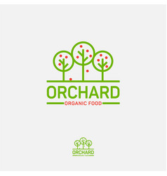 logo orchard organic icon food fruit trees vector image