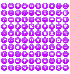 100 thunderstorm icons set purple vector