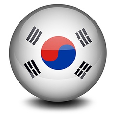 A ball with the South Korean flag vector