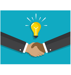 a handshake and light bulb symbolizes idea vector image