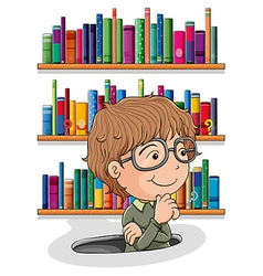 A man wondering inside the hole with books vector