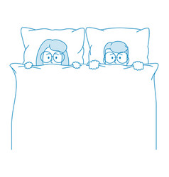 a young couple lies in bed and looks out from vector image