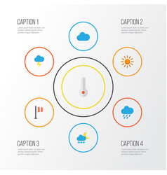 Air flat icons set collection of cloud shower vector