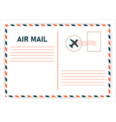 Air mail postcard travel in mail style vector