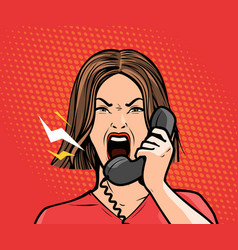angry girl or young woman screaming into the phone vector image