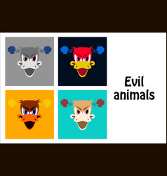 Assembly of flat icons on theme evil animals duck vector
