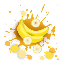 Banana fruit logo watercolor splash design fresh vector