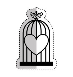 bird cage with heart isolated icon vector image