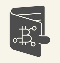 bitcoin wallet solid icon bitcoin purse vector image