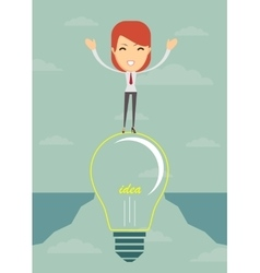Businesswoman on a bulb cross an abyss vector image