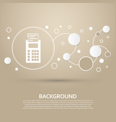 Calculator icon on a brown background with vector