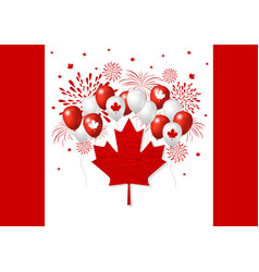 Canada day design of flag and balloon with vector