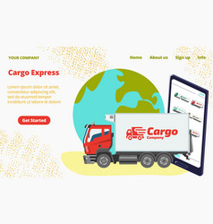 Cargo express concept landing page lorry vehicle vector