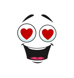 Cartoon face with red hearts in eyes open mouth vector