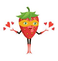 cartoon superhero strawberry in orange mask funny vector image