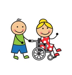 Cartoon woman on a wheelchair vector