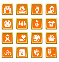 charity icons set orange square vector image
