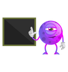 chilled monster in front off black paper panel on vector image
