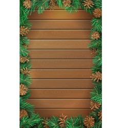 Christmas vertical wooden background with pine vector