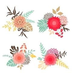 collection bouquets with flowers and leaves vector image