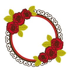 Colorful floral circular frame with decorative vector