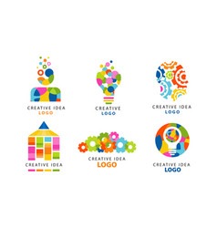 creative idea logo templates collection digital vector image