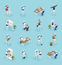 Creative robots isometric icons vector