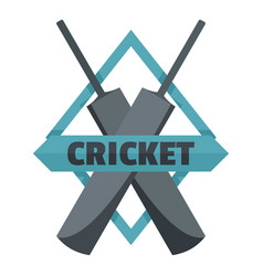 crossed bats cricket logo flat style vector image