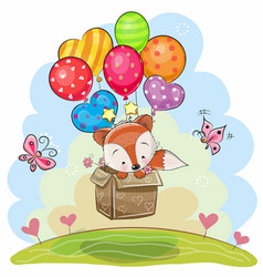 Cute cartoon fox with balloons vector