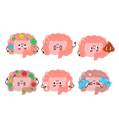 Cute funny intestine organ character set vector
