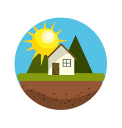 Cute hause with mountains and sun vector