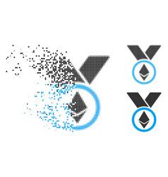 Disintegrating pixelated halftone ethereum award vector