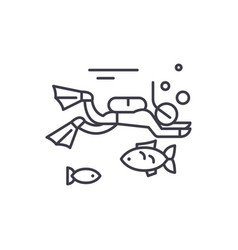 diving line icon concept diving linear vector image